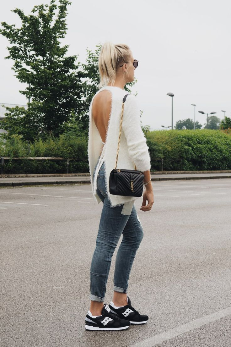 Styling Saucony trainers with backless sweater and Saint Lauren Monogramme  bag on style blog lurchhoundloves