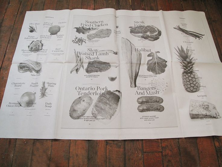 Original newspaper-format menu created for Smith, a Toronto restaurant, with huge roman fonts and black and with illustrations of products.
