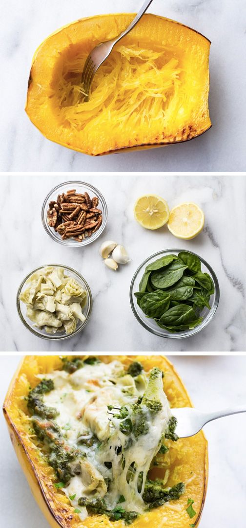 You'll definitely want to add spaghetti squash to your weekly grocery list for this delicious recipe! These Spinach & Artichoke Spaghetti Squash Bowls are made with a simple homemade basil pesto and topped with gooey melted cheese. This healthy meal is bound to become a household favorite.
