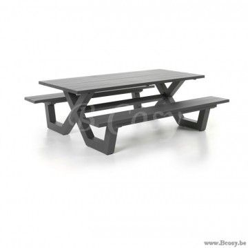 Gescova Azur Bonucci Full Alu Picknick Tafel-Bank-Picknicktafel-Picknickbank Charcoal 220 Boni-Bonucc Table-bistro-de-jardin-Picnic-table-in-full-aluminium-gartentisch