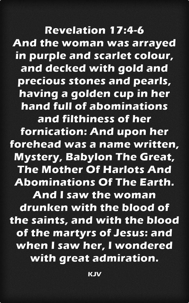 Revelation 17:4-6 King James KJV