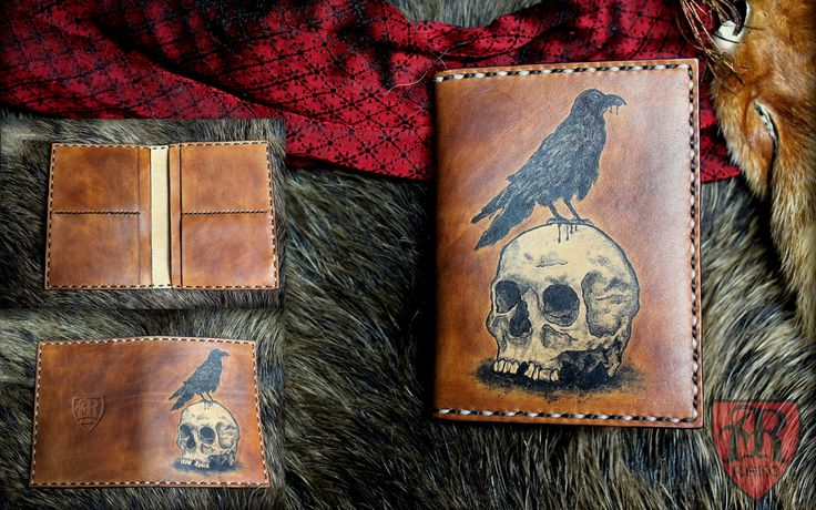 Leather wallet with picture. Hand made by Pracownia REKO www.facebook.com/pkk.reko