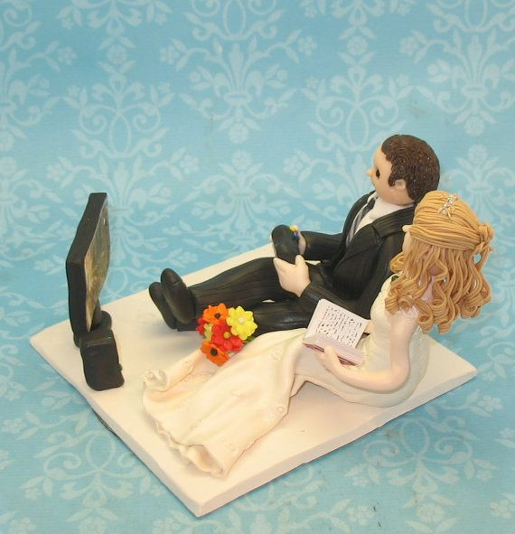 Put a controller in my hand too and this would be perfect!    Wedding Cake Topper Video Game by MandMClayCreations