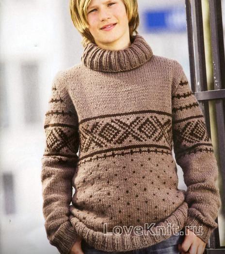 Схема спицами мужской коричневый свитер с рисунком
