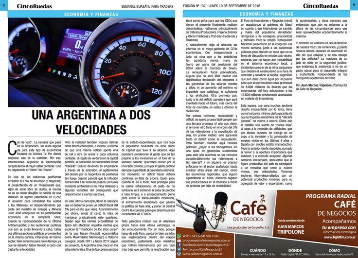 Edición impresa digital de la columna de Juan Marcos Tripolone en Cinco Ruedas El Diario del Inversor Bursátil
