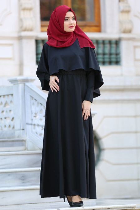 Neva Style -Kruvaze Yaka Kemerli Siyah Tesettür Elbise - 41990S