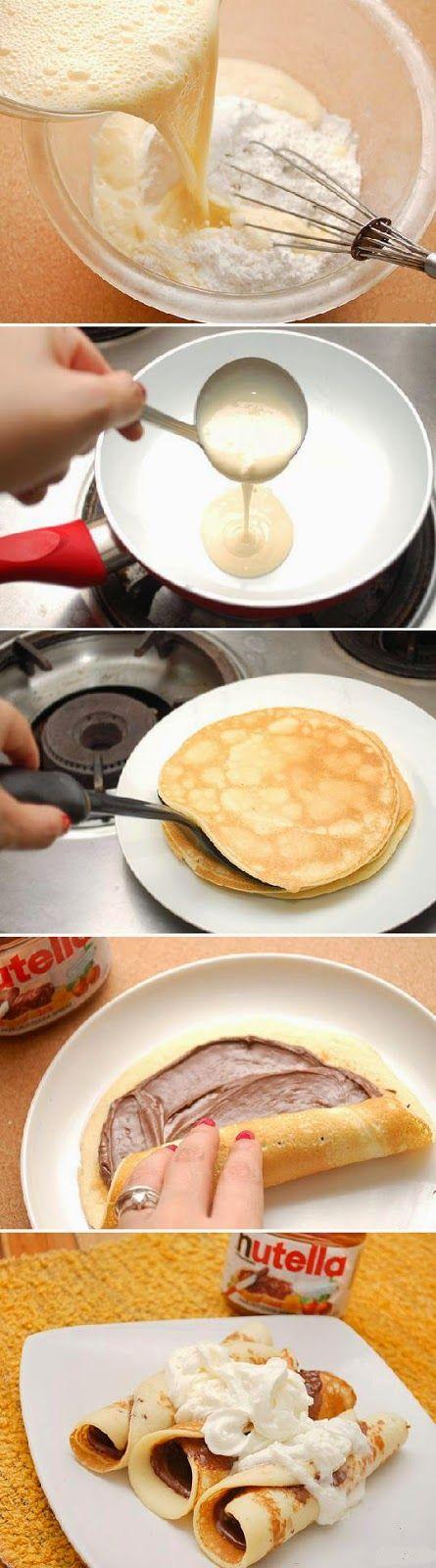 Ingredientes 1 1/8 tazas de harina 1 cucharada de sal pizca de azúcar 3 huevos batidos 1 1/2 tazas de leche 1 cucharada de mantequilla, derretida y fría 1 cucharadita de Nutella esencia de vainilla -