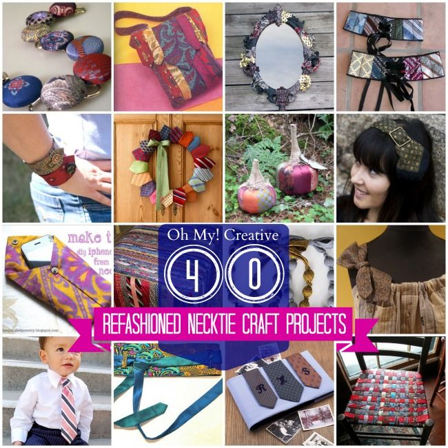 40 Top Refashioned Necktie Craft Projects including necktie clothing, home decor, purses, jewelry and accessories!