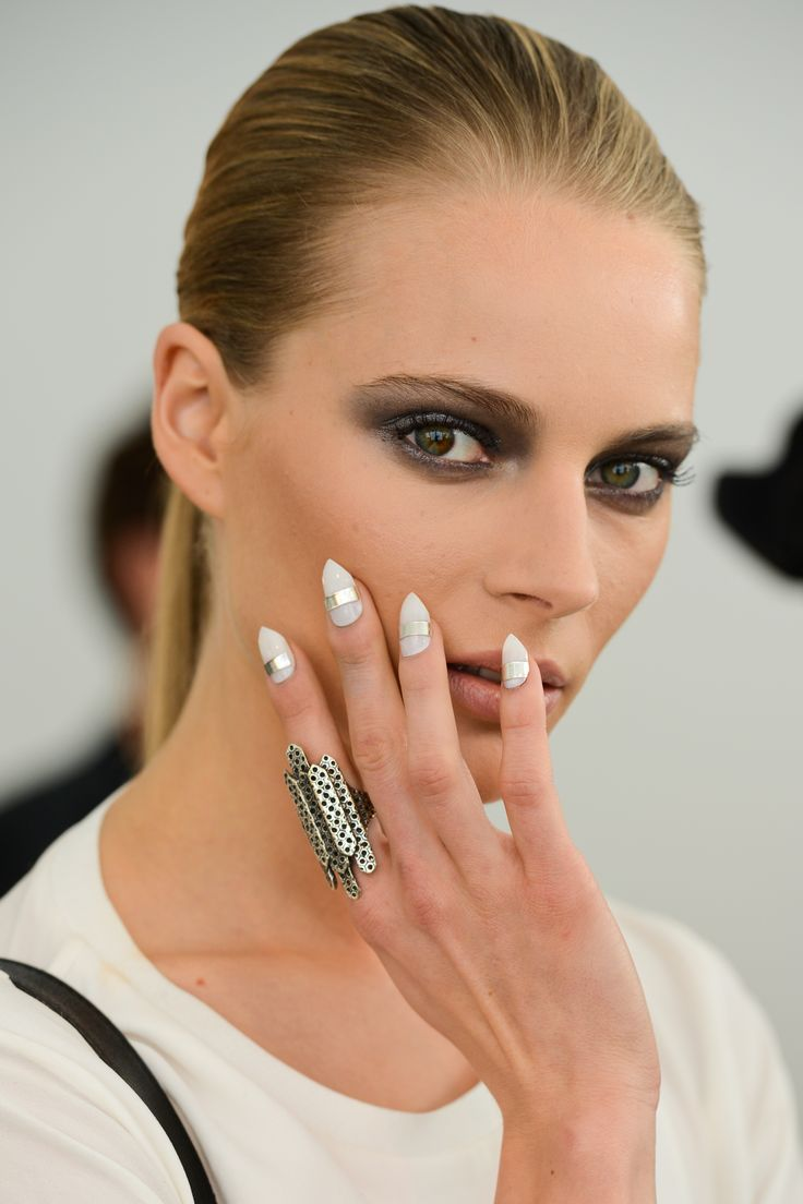 Cushnie et Ochs 2014 Spring nails - China Glaze in Dandy Lyin' Around with China Glaze in Moonlight on top, then added a silver band across nail, then filed nail tips to a stiletto shape