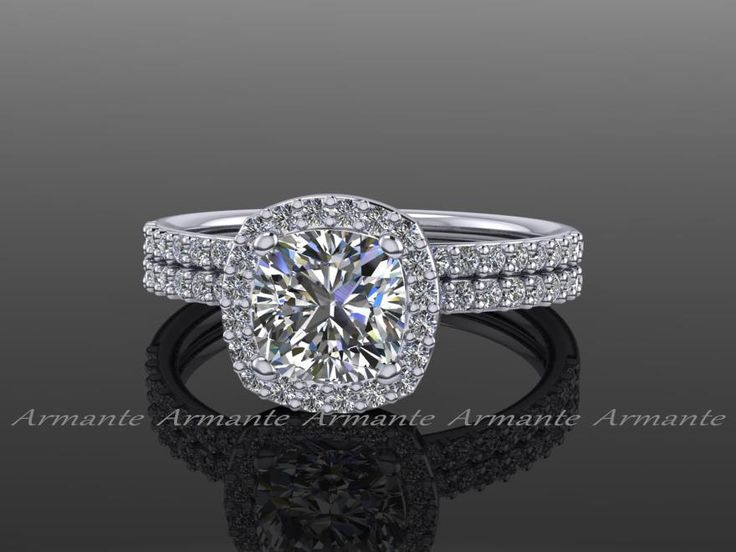 Forever Brilliant Engagement Set Moissanite Diamond Halo Bridal Set 14K White Gold, Wedding Ring RE00145FB by Armante on Etsy