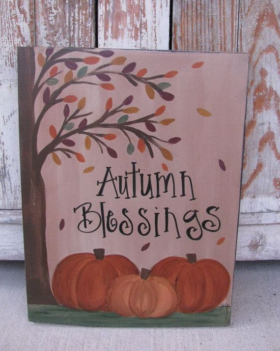 Primitive Autumn Blessings Fall Pumpkins by GainersCreekCrafts