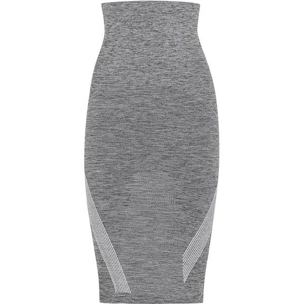 Womens Pencil Skirts LNDR Grey Stretch Jersey Pencil Skirt ($47) ❤ liked on Polyvore featuring skirts, bottoms, striped pencil skirt, pencil skirt, elastic waist pencil skirt, knee length pencil skirt and gray skirt