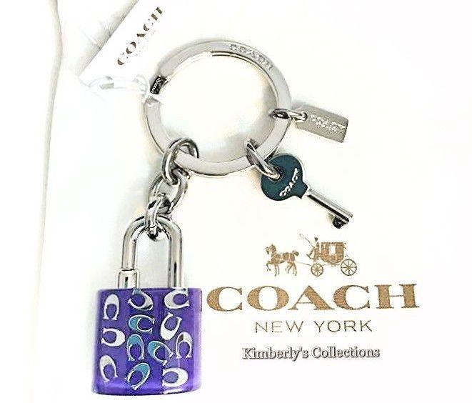 COACH Sprinkle C Lucite Lock Key Ring Keychain Purple & Silver Purse Bag FOB NWT #Coach