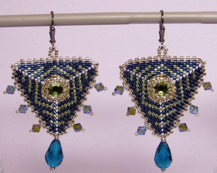 Chandelier Earrings – Art deco earring- Silver and cobalt – a unique product by DarkEyedJewels on DaWanda