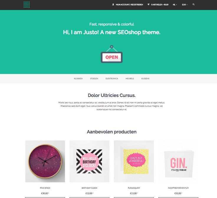 JUSTO theme by SEOshop | ecommerce | design | online store | webshop |