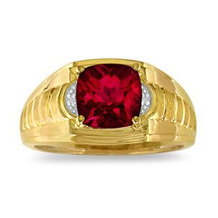 Cushion Cut Ruby & Diamond Men's Ring Available Exclusively From Gemologica.com