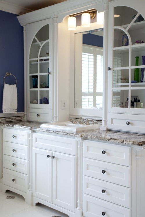 ensuite bathroom cabinetsBathroom Design, Bathroom Storage, Bathroom Ideas, Traditional Bathroom, Master Bath, White Bathroom, Glasses Doors, Cabinets Design, Bathroom Cabinets