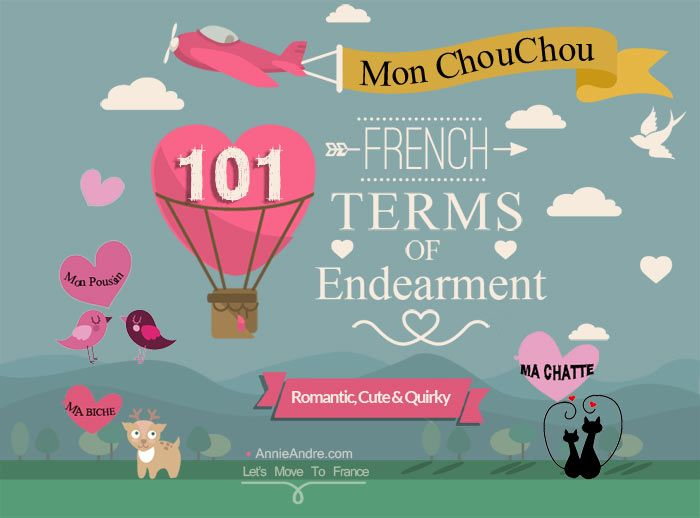 List of French terms of endearment for anyone and any occasion. Sure to turn melt his heart or embarrass the hell out of your kids! #french #termsofendearment