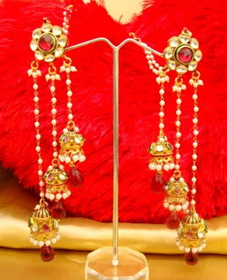 A beautiful kashmiri style dangling earring with long pearl beaded chains and wine drops . Making of these earrings is just so perfect for the ears . very light in weight .