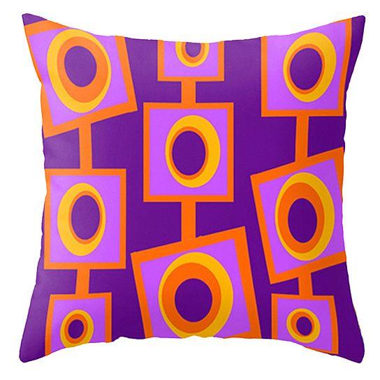 Mod Orange and Purple Throw Pillow