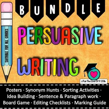 This bundle brings together 6 of my most popular persuasive writing resources. You can stillpurchase each one of these separately or for a saving, purchase them all as one bundle here.Persuasive writing chart collectionThis is a set of ready to print and laminate charts which outline the most important features ofpersuasive writing, a definition of persuasive writing or purpose, a list of powerful words,connectives and persuasive sentence starters.