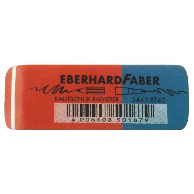 Gecombineerd potlood/inktgum.Rood/blauw afgeschuind tablet.50% natuurrubber.  - Gum Eberhard faber EF-585443 potlood/inktgum