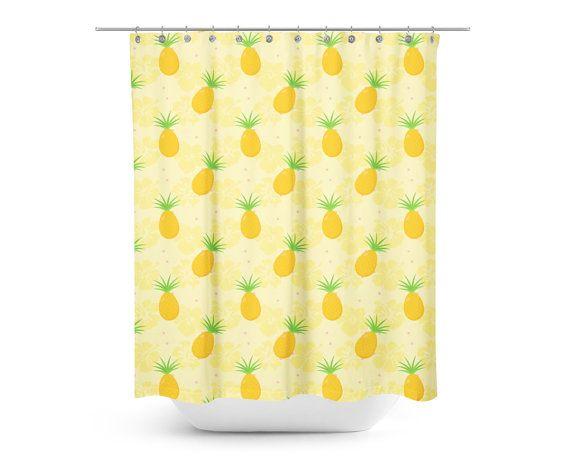 Pineapple Hibiscus Shower Curtain - Kids Shower Curtain - Hawaiian Kids Shower…