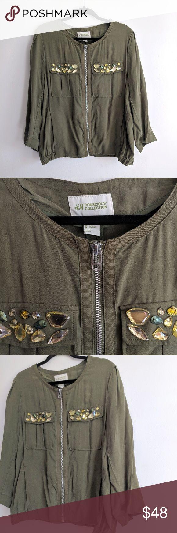 H & M Embellished Bomber Jacket Olive Green (With images
