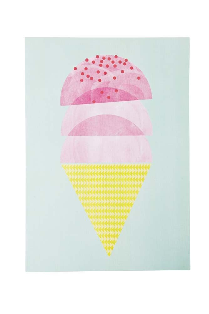 Add a pop of colour and some style to any room of the house with this gorgeous Triple Scoop Ice Cream print by Poppies For Grace!  Designed in Melbourne by the phenomenal ladies of Poppies for Grace!  Archival, acid free art and printed on white linen.  Size: A3 - 297MM x 420MM - fits standard A3 frames