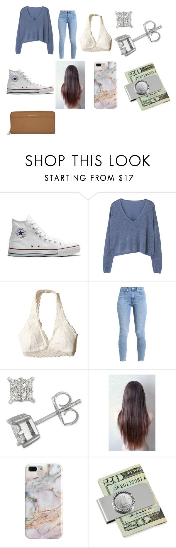 """""""High School Basketball Game"""" by mhertlein on Polyvore featuring Converse, MANGO, Hollister Co., Recover and MICHAEL Michael Kors"""