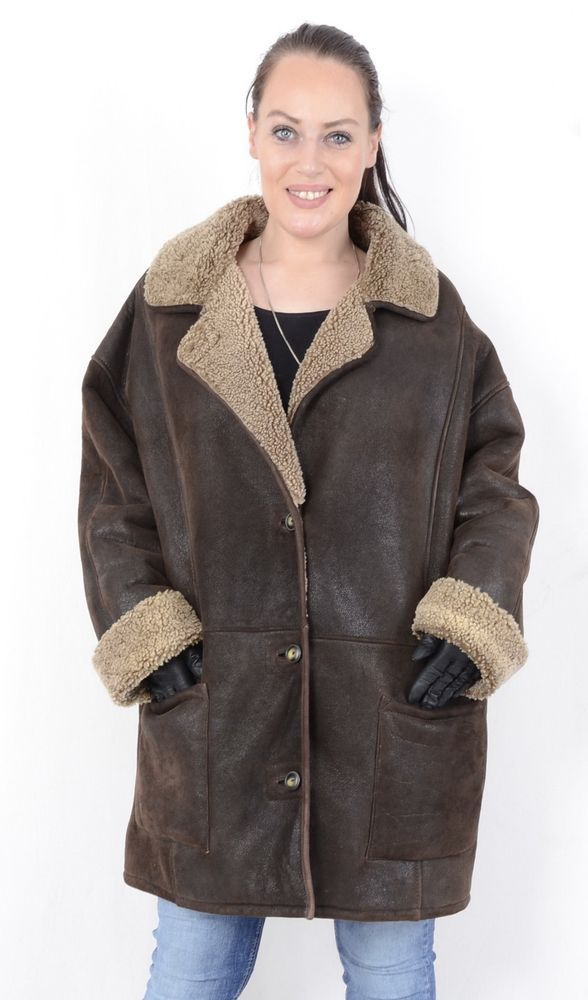 NEW REAL 100/% GENUINE SHEEPSKIN Shearling Leather Jacket Coat Hood Fur XS 6XL