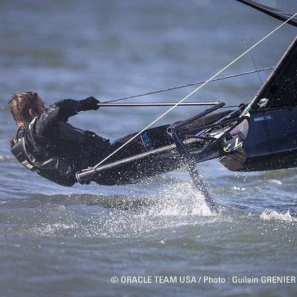 #OracleTeamUSA sailor Kyle Langford hits the San Francisco bay in his moth. #sailing #sfbay