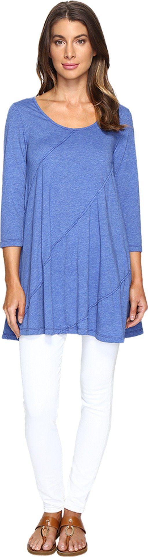 Mod-o-doc Women's Heather Jersey 3/4 Sleeve Swing Tunic Nautical Shirt