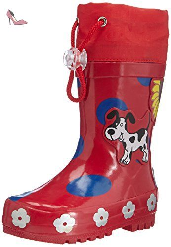 Playshoes-188569-34-Bottines-Rubber Boots Big Dots Red-T34/35 - Chaussures playshoes (*Partner-Link)