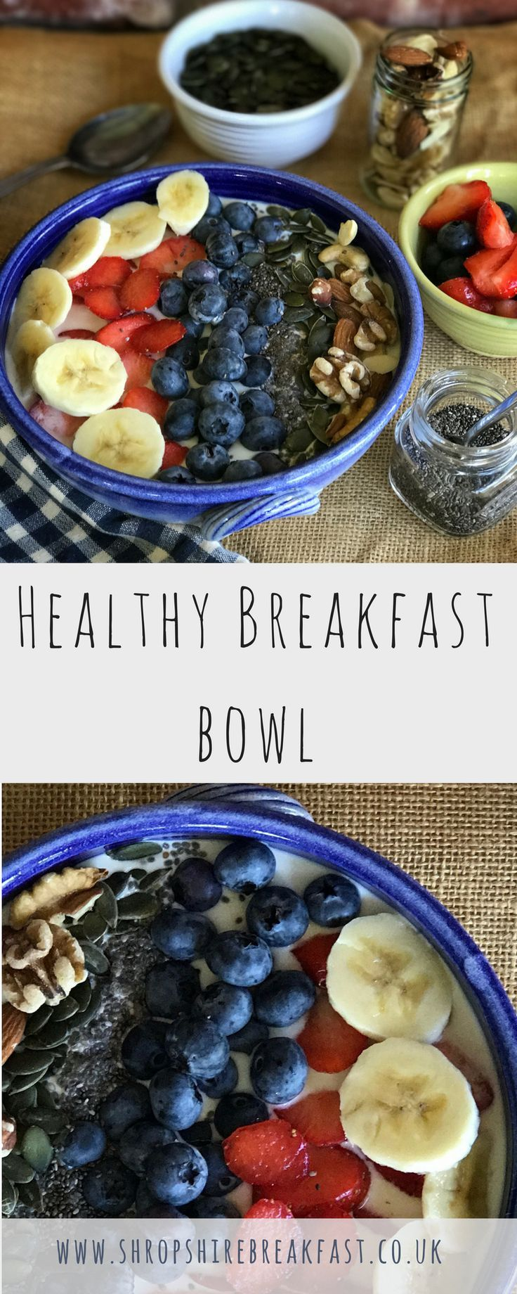 Healthy breakfast bowl. Turn overnight oats into a healthy breakfast bowl by adding your choice of berries, bananas, nuts, chia and pumpkins seeds.