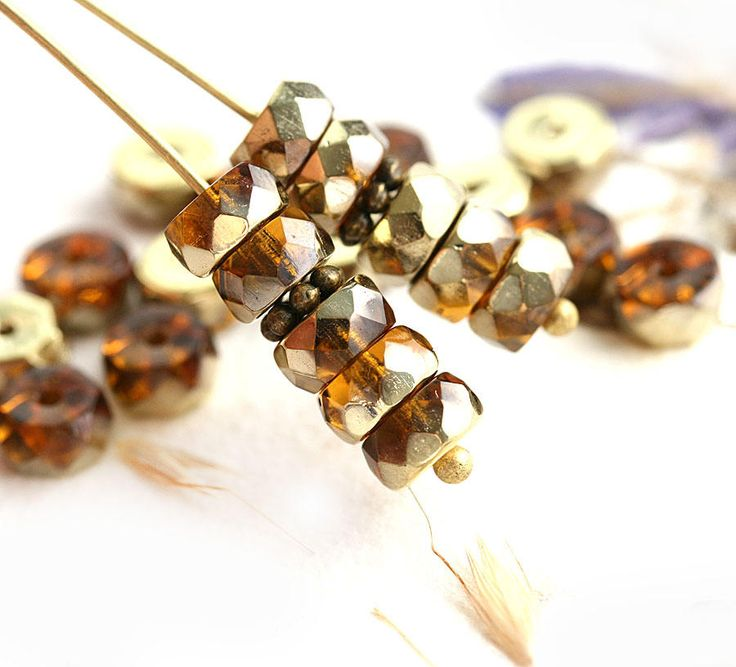 6x3mm Topaz Brown Rondelle beads, Golden coating fire polished czech glass faceted spacers - 25Pc - 2035 by MayaHoney on Etsy