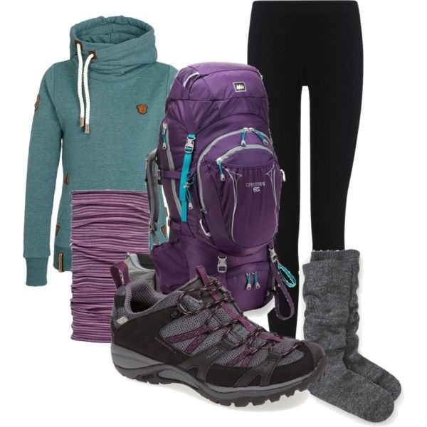 Early Spring Hiking Outfit on Polyvore | featuring Naketano, REI, Buff, and Merrell