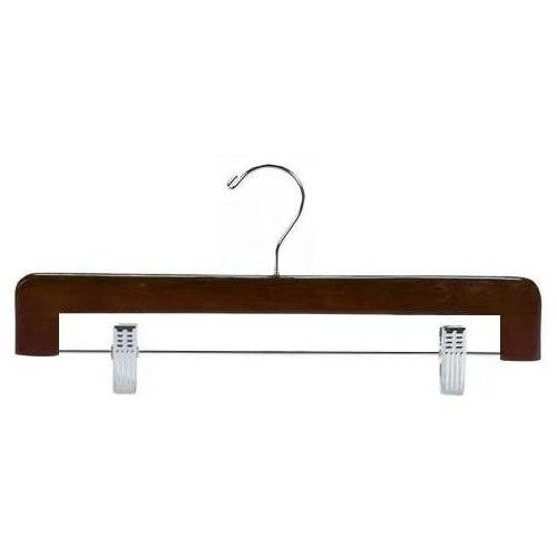These Flat Hardwood Pant/skirt Hangers Come With A Brilliant Swivel Chrome  Hook And Adjustable Soft Rubber Cushioned Clips For Hanging.