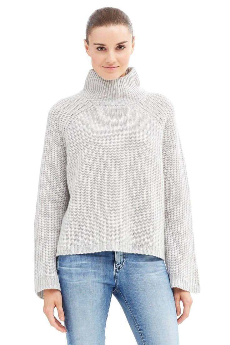 "A ribbed knit turtleneck pullover in a relaxed bodice for a comfy chic look.                                                                       Fabric: 100% cashmere.                                           Fit: True to size. Model is wearing size small.             Model Measurements: height: 5'11 / bust: 34"" / waist: 24"" / hips: 35""."