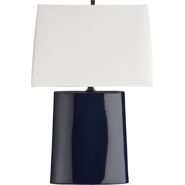 Crate & Barrel Boka Midnight Blue Table Lamp (260 AUD) found on Polyvore featuring home, lighting, table lamps, lamps, crate and barrel table lamps, crate and barrel lighting, midcentury modern lamp, mid century modern lighting and crate and barrel lamps