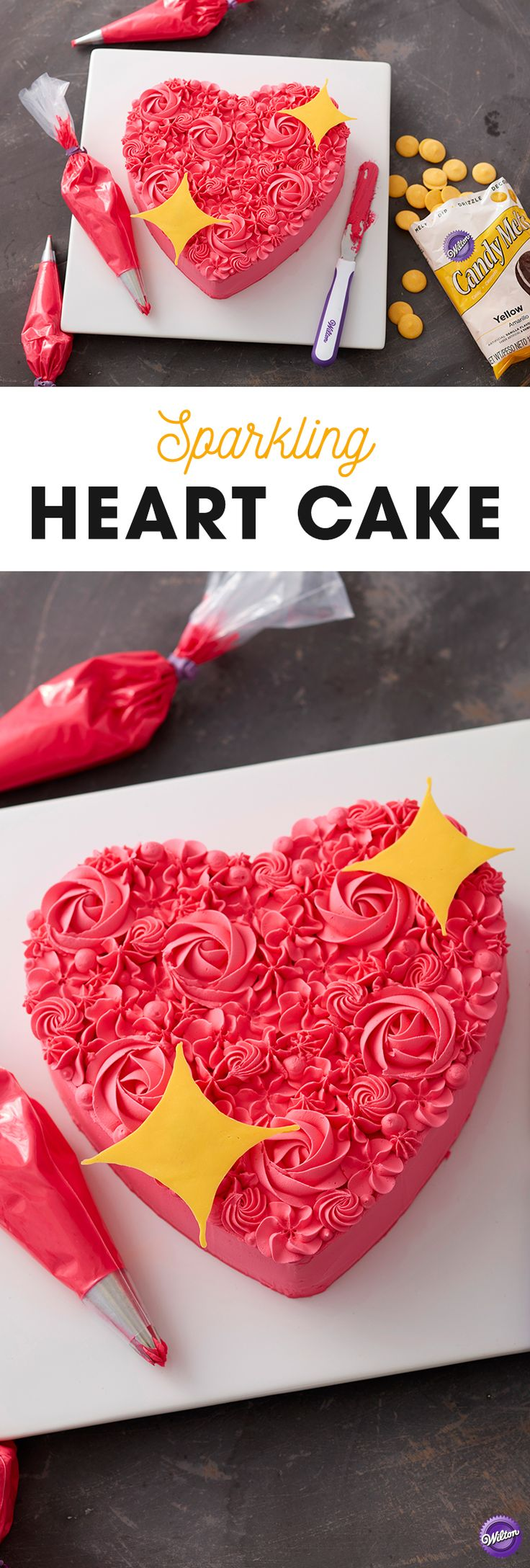 Topped with candy stars and featuring a variety of decorating techniques, the Sparkling Heart Cake is a dream for beginning decorators. A simple heart cake is covered with amazing rosettes, stars, drop flowers and more for a textured and stunning treat that is great for weddings, Valentine's Day or bridal showers. Use melted Candy Melts candy to create lovely star embellishments and have fun showing off this lovely blooming heart cake!