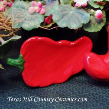 Sizzling Red Ceramic Chili Pepper Tea Bag Holder Small Spoon Rest by TexasCeramics for $9.00