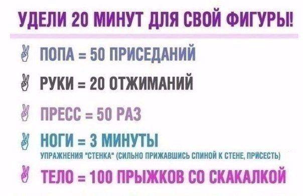 Упражнения для похудения в домашних условиях схема