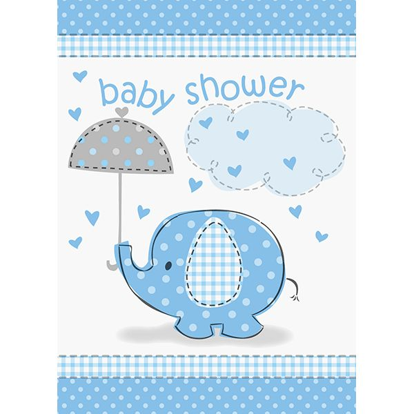Pack your party with pachyderm fun! Make sure no one forgets, with the Umbrellaphants Invites. These invites feature an adorable elephant, covered in baby blue polka-dots and gingham, holding a grey u