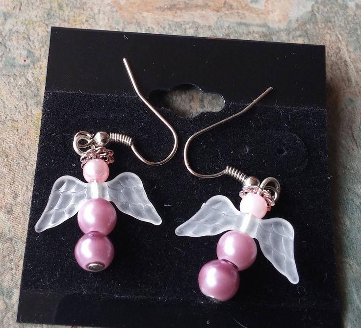 Angel, Pink Pearl Drop Earrings, Ladies Earrings, Womens Jewellery, Handmade Earrings, Gift for Her, Bridal Jewellery,Fashion Earrings,Gifts by SpryHandcrafted on Etsy