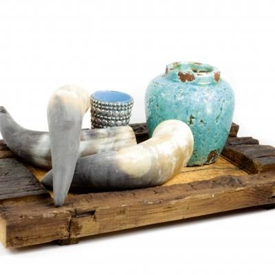 Chuncky wooden tray, horns en turquoise. Great bohemian Ibiza style !