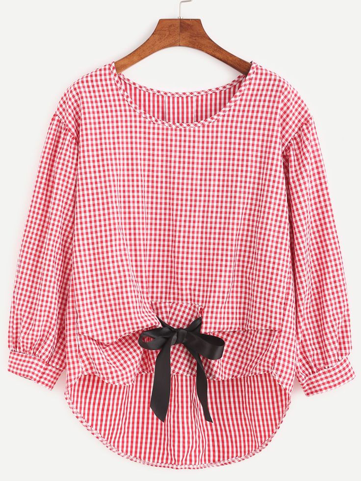 Gingham Plaid Bow Tie High Low Blouse — 0.00 € ------------------color: Red size: one-size