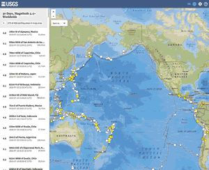 map of latest earthquakes