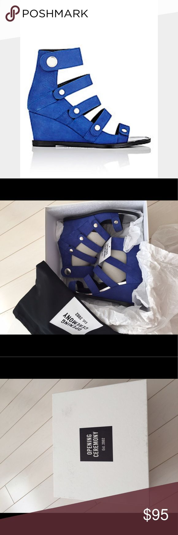 Opening ceremony Olivia wedge in blue size 7 New New in box and with dust bag. Size 7. No trade Opening Ceremony Shoes Wedges