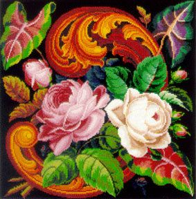 Berlin Woolwork Floral Rose Scroll Cross stitch or Needlepoint Pattern PDF $6.50